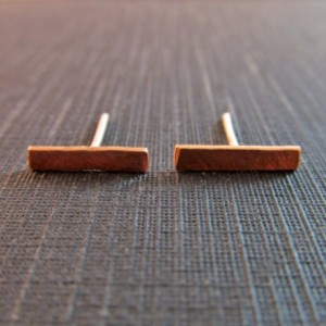 Copper Bar Post Earrings // Rustic Copper and Sterling Silver Earrings // Geometric Bar Earrings // Copper Bar Earrings