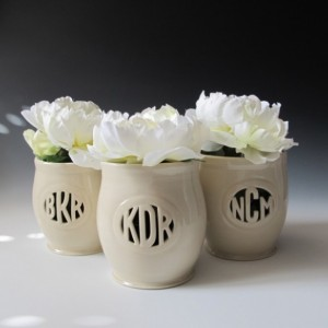 Small 3 letter monogram vase - ceramic