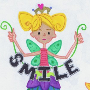 Smile Fairy Wall Art 5x7 Original