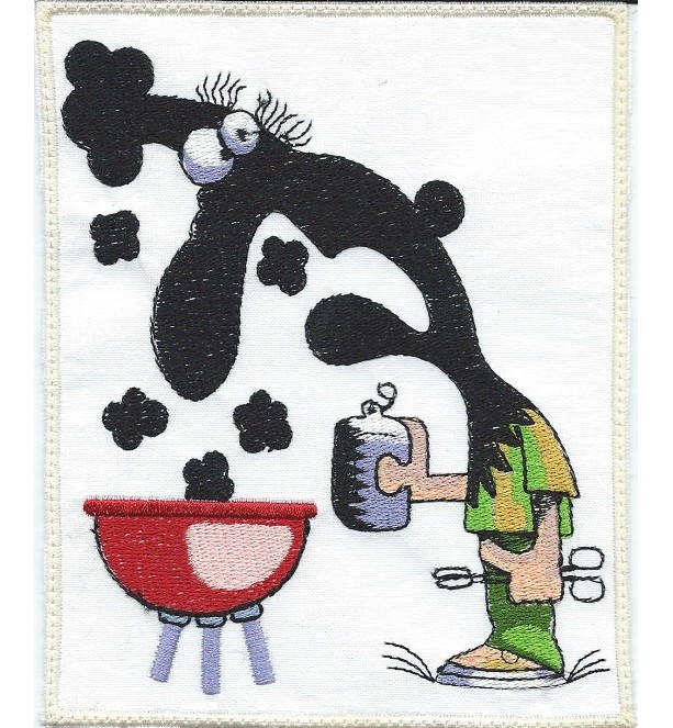 Smoker BBQ Guy iron-on, applique patch machine embroidered -free shipping