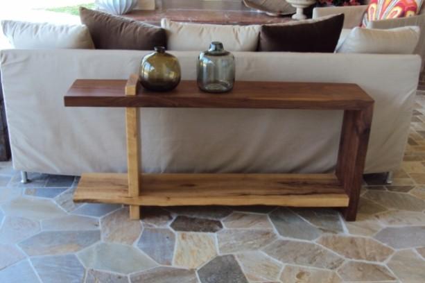 Walnut and Maple Sofa Table