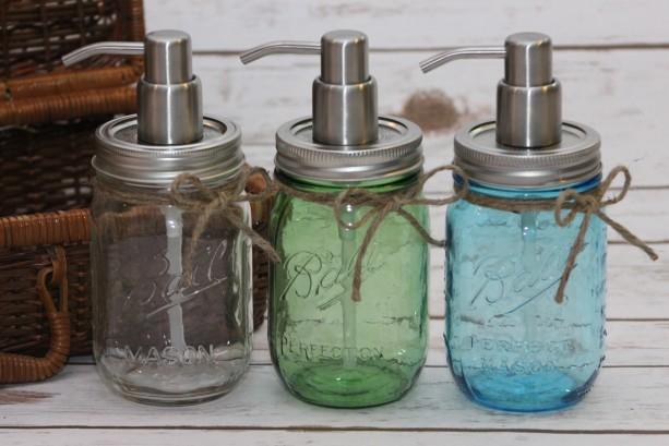 Pint mason jar soap dispenser - Vintage Blue - Vintage Green - Clear