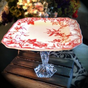 "Venetian Red French Country Chic 11"" Swallow Pedestal Cake Stand w/Cut Crystal Pedestal"