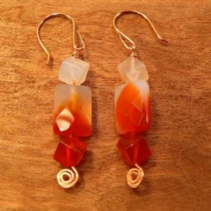 Agate Earrings with Handmade Copper Spirals