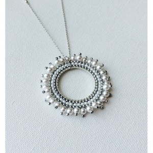 Pearls and Silver Czech Seed Beads Pendant