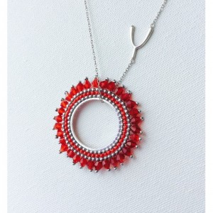 Ruby Red Swarovski Crystals Pendant