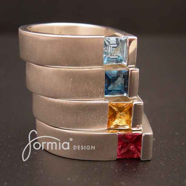 Sterling silver square cut gemstone rings