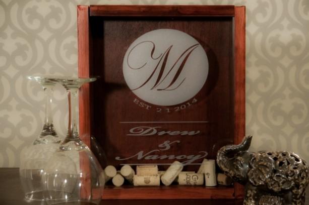 Monogrammed Wine Cork Holder Shadow Box