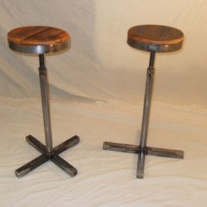 Handmade Reclaimed Wood & Steel Bar Stool
