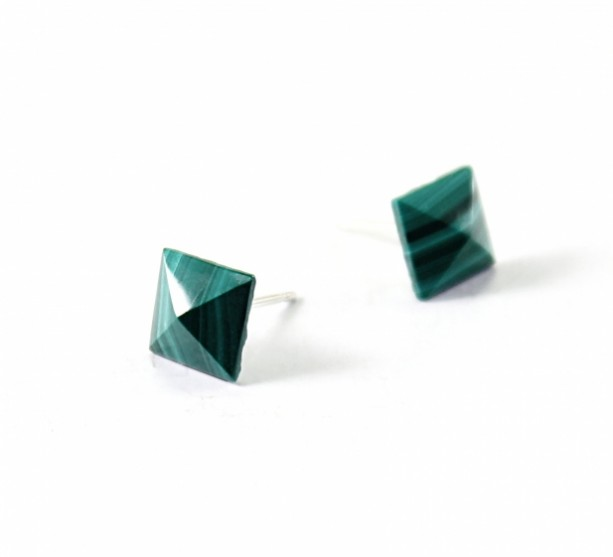 Sterling Silver Stud Earrings Malachite Spikes Green Studs Stone Gemstone Jewelry Posts