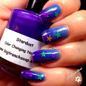 """Color Changing Thermal Nail Polish - Blue/Purple with Holographic Stars - """"STARDUST"""" - Temperature Changing"""