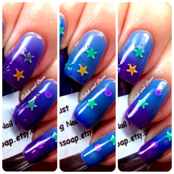 "Color Changing Thermal Nail Polish - Blue/Purple with Holographic Stars - ""STARDUST"" - Temperature Changing"