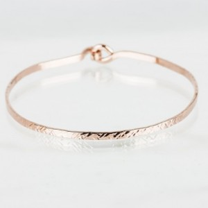 Rose Gold Fill Open Bangle with a Criss Cross Texture