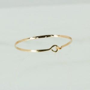 Textured 2 mm Gold Fill Bangle Bracelet