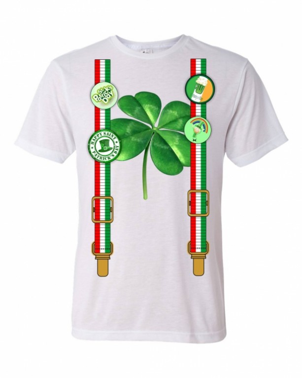 st day shirt with suspenders irish buttons and clover