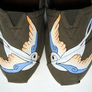 Womens White Swallows on Olive Custom Hand Painted TOMS Bird Design