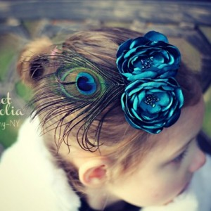 Teal Flower Sash or Hair Fascinator