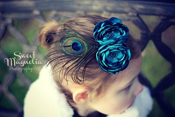 Teal Flower Sash or Hair Fascinator