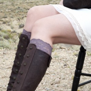 Taupe Lace Boot Cuffs