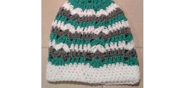 Gray, Teal, and White Woman's Beanie