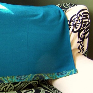 Square Teal Wool Throw Blanket with Bold Paisley Trim