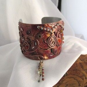 Textured Hand Painted/Decorated Aluminum Cuff