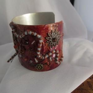 Textured Hand Painted/Decorated Aluminum Cuff