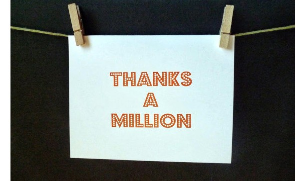 Thanks a Million Card (Gocco printed) (2 pack)