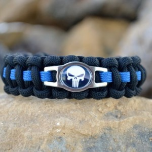 Thin Blue Line Punisher Paracord Bracelet w/ Hidden Handcuff Key Buckle