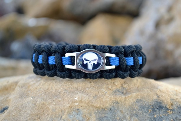 Thin Blue Line Punisher Paracord Bracelet W Hidden Handcuff Key
