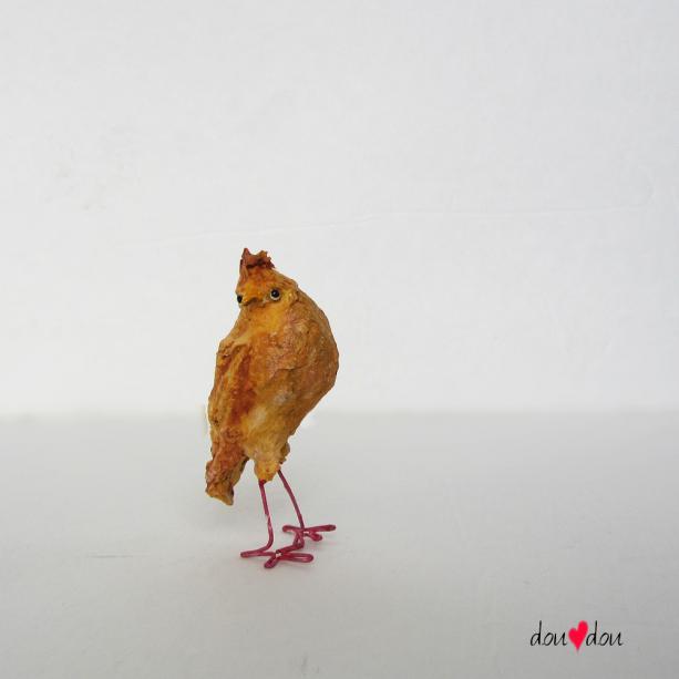 Thinking Chicken Miniature Sculptue