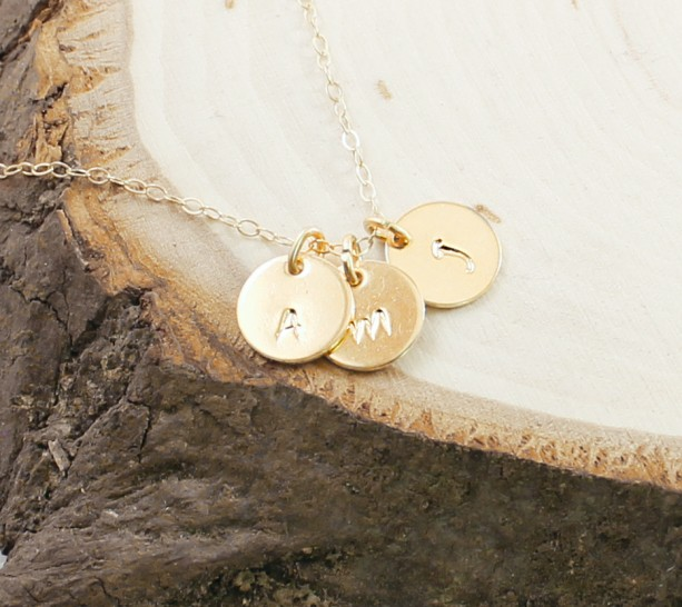 14k gold initial necklace, three letter charm necklace, personalized jewelry