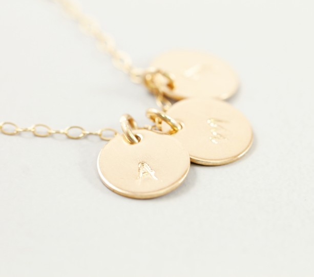 14k Gold Initial Necklace Three Letter Charm Necklace