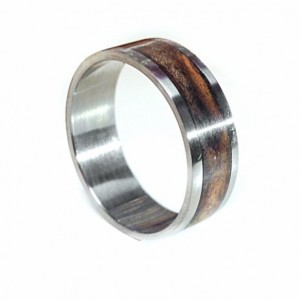 Titanium Wedding Band with Wood Inlay