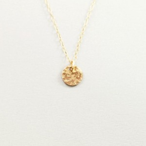 Dainty 14k gold filled charm necklace, hammered disc necklace,  simple