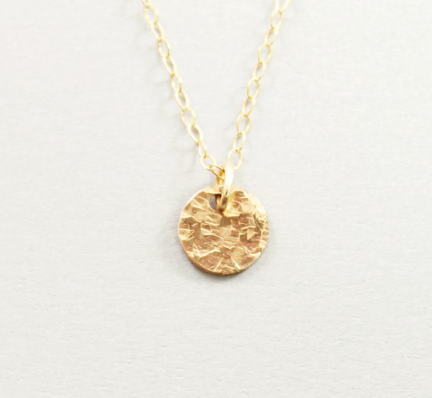 Dainty 14k gold filled charm necklace hammered disc necklace s dainty 14k gold filled charm necklace hammered disc necklace simple aloadofball Gallery