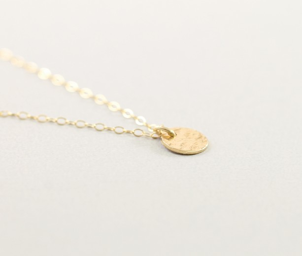 3f730981731 ... simple Dainty 14k gold filled charm necklace, hammered disc necklace,  ...