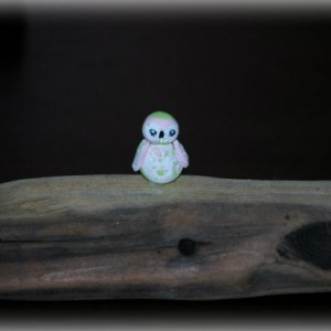 Tiny owls on wood