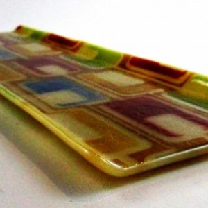 Handmade Fused Glass Hors D'oeuvres Tray with Torronte Design