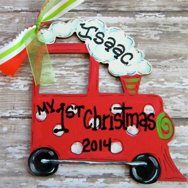 Train Christmas Ornament, hand painted, wood ornament, personalized