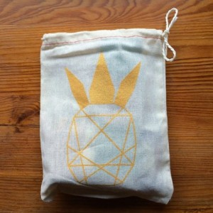 "Geometric Pineapple Muslin Treat Bags (5 - 6""x8"" cotton drawstring)"