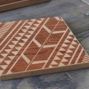 Tribal Aztec Pattern Modern Wooden Engraved Set of 4 Coasters