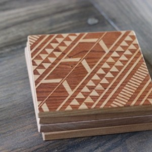 Tribal Aztec Pattern Modern Wooden Engraved Set of 4 Coasters