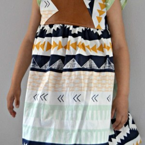 Geometric Pleather Geranium Dress, 4T