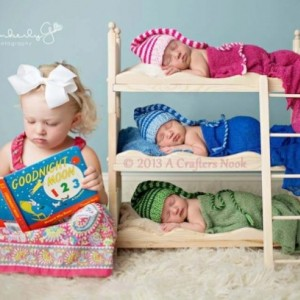 Triple Doll Bed Bunk Bed Ladder + Mattresses Newborn Photography Triplets Prop, Boy Prop, Girl Prop DIY