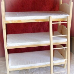 Newborn Triplets Photo Prop Stackable Triple American Girl Doll Bunk Bed Foam Mattresses and Ladder