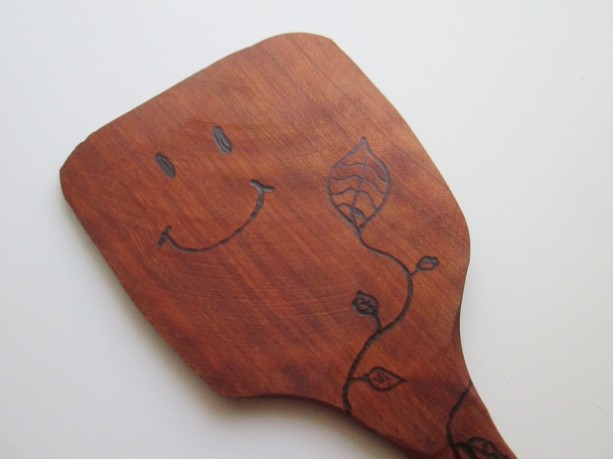 Kitchen Turner, Cherry, Woodburned, Turn Over A New Leaf