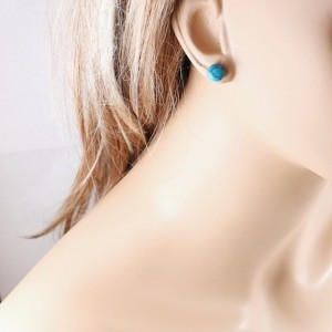 Turquoise earrings, sterling silver studs gemstone jewelry blue posts