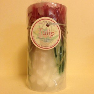 Red Tulip Pillar Candle