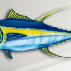 "14"" Yellow Fin Tuna Salt Water Game Fish Replica, Wall Mount, Decor, Nautical Art, Gift"